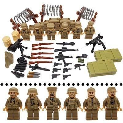 armes Set Fits LEGO Block kids toys UK WW2 US 4Pc army soldier minifigures