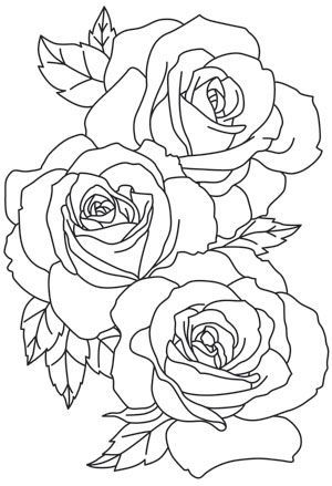 The Linework Of These Large Blooms Give A Lavish Feel To This Gorgeous Design Downloads As A Pdf Use Rose Outline Tattoo Roses Drawing Flower Outline Tattoo