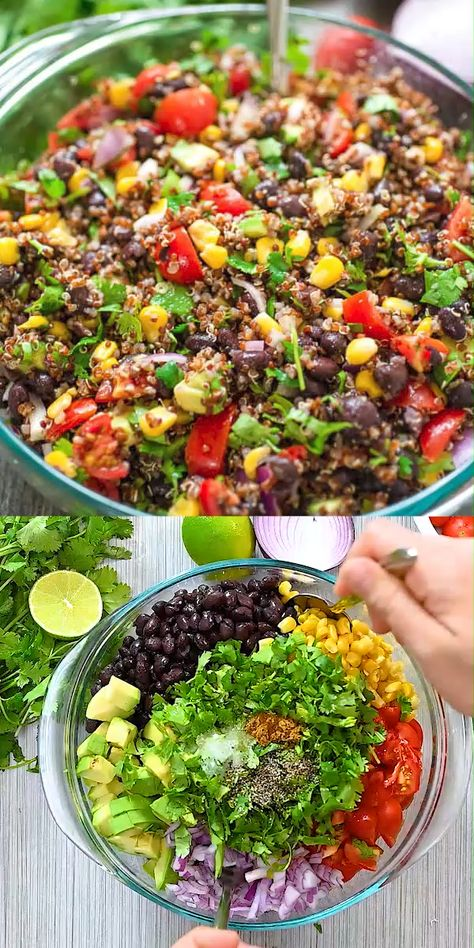 Mexican Quinoa Salad - This Mexican style quinoa salad is made with . - Mexican Quinoa Salad – This Mexican-style quinoa salad is made with black beans, corn, tomatoes, avocados, red – salad - Best Salad Recipes, Whole Food Recipes, Diet Recipes, Healthy Recipes, Grilling Recipes, Lunch Recipes, Vegan Quinoa Recipes, Advocare Cleanse Recipes Days 1 10 Meals, Healthy Salads