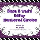 {Freebie} Black & White with a little glitz numbered circles.(1-30) to create student numbers or library bin markers. www.mrsfreshwatersclass.com