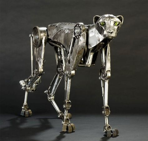 Steampunk Sculpture Cheetah by Andrew Chase - these are incredible!