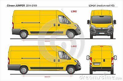 Citroen Jumper Cargo Delivery Van Lwb L3h2 And Lwb L4h2 Medium Roof 2014 2019 Detailed Template For Design And Production Of Vehic Citroen Jumper Van Cargo Van