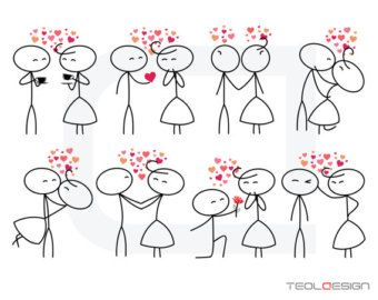 Stick figure people love wedding couple meeting by TeoldDesign