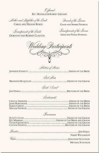 Simple Option For Wedding Program
