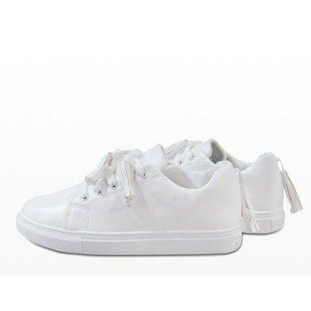 Biale Trampki Z Fredzlami Hs713 9 Sneakers White Sneakers Women White Sneakers