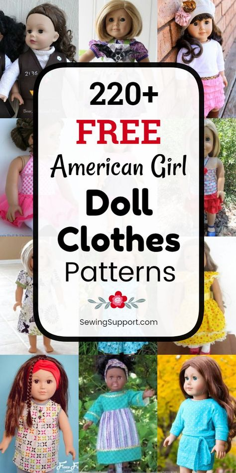 Doll Clothes Patterns for American Girl 18 inch dolls. 200 free patterns tutorials and diy projects to sew. Many simple quick and easy designs. Browse doll dress skirt top pants patterns and more. American Girl Outfits, Ropa American Girl, American Girl Doll Bed, American Doll Clothes, American Girl Dress, Knitted Doll Patterns, Doll Patterns Free, Doll Sewing Patterns, Free Pattern