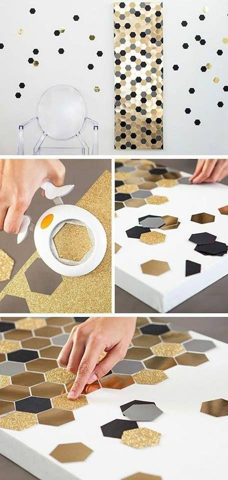 Diy Shiny Hexagon Wall Decor Diy Bedroom Decor Diy Wall Art