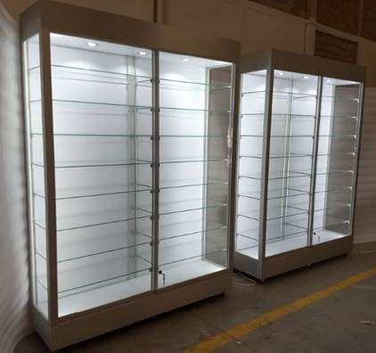 These Large Wall Upright Showcases Are Also Referred To As Free Standing Display Cases Or Floor Display Cabinet Design Wall Display Case Glass Cabinets Display