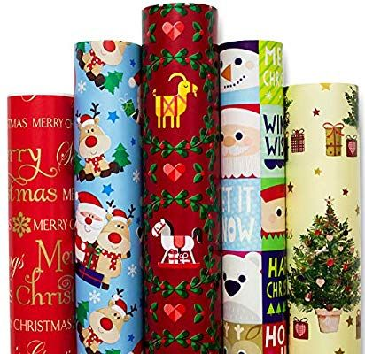 Amazon Com Christmas Gift Wrapping Paper White Red Blue With Pattern 5 Roll 30 Inch X 10 Feet Per Roll Xmas Holiday Hanukkah Deer Santa Snowmen Snowflakes Hea
