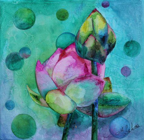 Lotus Aquarelle Sur Toile Enduite De Modeling Paste Effet