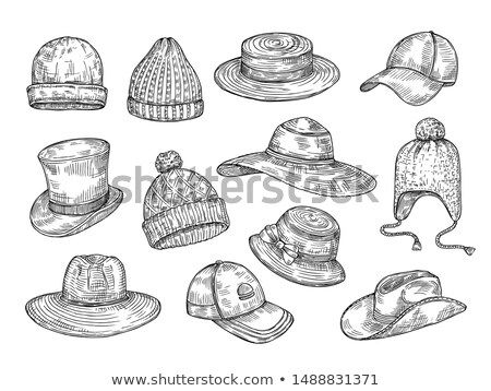 Stock Vector Sketch Hats Knitted Winter And Summer Hats Hand Drawn Warm Cap Doodle Headdress Accessories Vector Summer Hats How To Draw Hands Winter Knits
