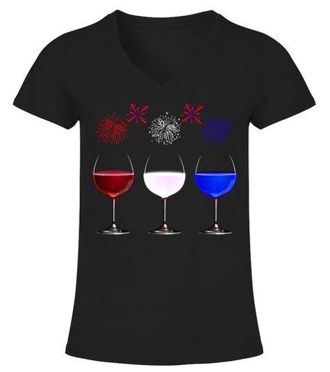 Funny Wine Glass T-Shirt Red White and Blue Firework shirt  -  V-neck T-Shirt Woman  #Shirts #TShirts
