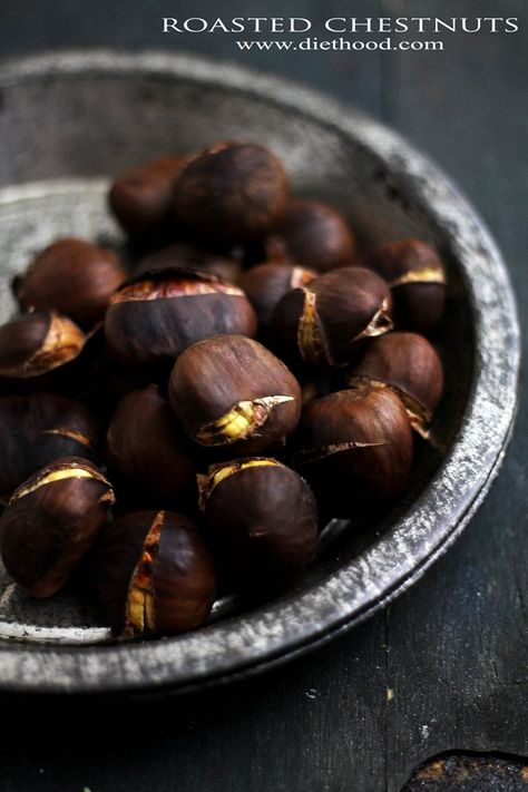 Roasted Chestnuts | www.diethood.com | Roasted Chestnuts - A delicious holiday snack! | #recipe #chestnuts #christmas
