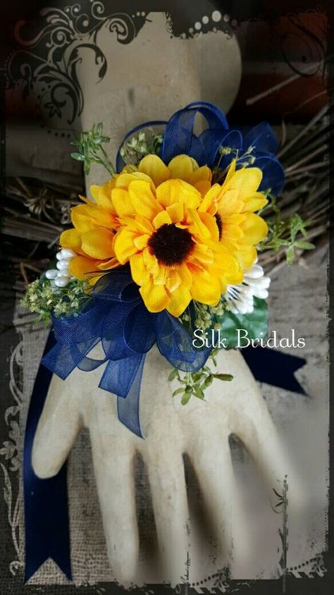 Sunflower corsage mini sunflowers wrist corsage navy blue