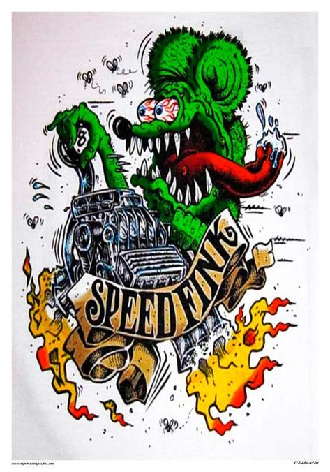 Here you go hot rodders Rat Fink Speed Fink garage art. measures 14 x printed on coated card stock. Ships well packed in a sturdy stay flat envelope. I do combine shipping. Please ask any questions before buying. Rat Fink, Ed Roth Art, Monster Car, Garage Art, Car Drawings, Ad Art, Pinstriping, Automotive Art, Cool Cartoons