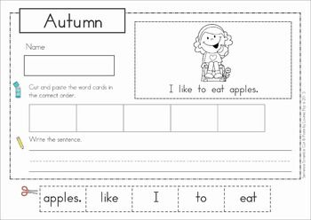 Autumn / Fall Sentence Scramble with Cut and Paste Worksheets ...
