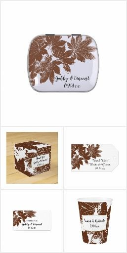 Set the tone for your September, October or November marriage reception with the natural Brown Fall Maple Leaf Stamp Wedding Reception Collection. Personalize autumn themed party favors, favor tags, disposable paper napkins, menus and table numbers. Each customizable party supply features a digitally enhance nature photograph of brown Korean maple tree leaves with a white background. #fallweddingideas #fallweddingfavors #fallleaveswedding #woodlandwedding