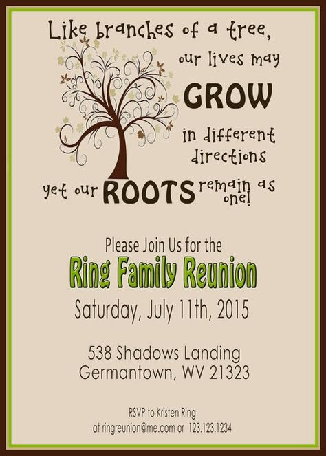 Family Reunion Invite Swirly Tree PRINTABLE by 2LittleDunn: