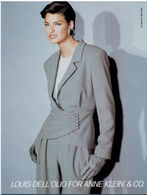 1990 LINDA EVANGELISTA for Louis Dell'Olio (ANNE KLEIN) Print AD | eBay