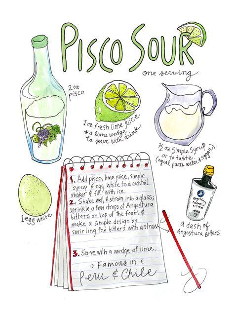 "Pisco Sour Watercolor Print 9""x12"" Kitchen Art by RabbitduckWorkshop on Etsy https://www.etsy.com/listing/239408829/pisco-sour-watercolor-print-9x12-kitchen"
