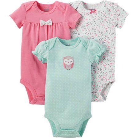 b60c3802a Child of Mine by Carter s Newborn Baby Girl 3 Pack Bodysuit
