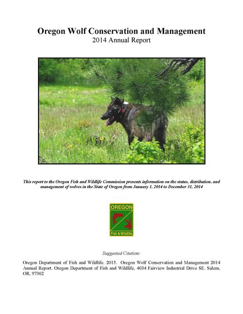 Oregon wolf conservation and management plan annual report, by the Oregon Department of Fish and Wildlife