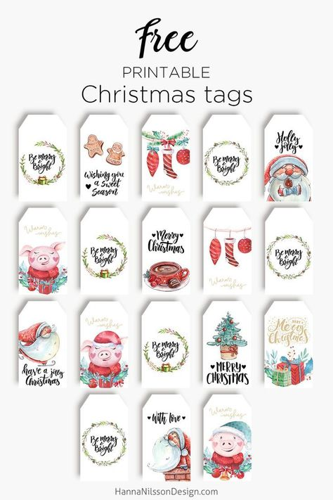 Christmas gift tags | Free Christmas printable | Pretty, cute, fun, choose your style and decorate your gifts with a tag this Christmas. | #christmas #gift #giftwrapping #printable #freeprintables #tags