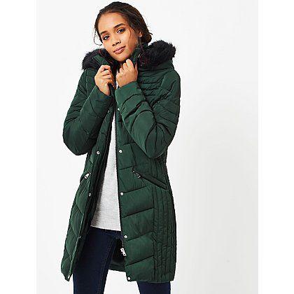 Details Women's Knee Length Winter Coat with Faux Fur Trimmed Hood