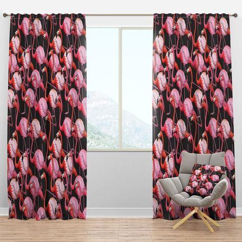 Designart Colorful Flamingo Tropical Curtain Panels 52 In Wide