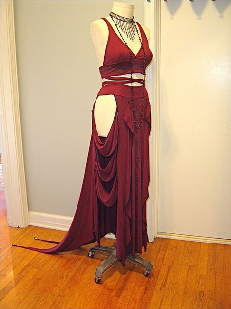 The Titania Burgundy Gatsby 3 Piece Outfit by AccentuatesClothing Tribal Fusion, Rocker Outfit, Larp, Fantasy Dress, Belly Dance Costumes, Character Outfits, Dance Outfits, Costume Design, Pretty Outfits