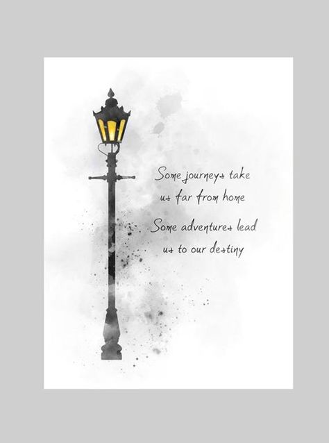 Narnia Quote ART PRINT Lamppost, Nursery, Gift, Inspirational, Wall Art, Home Decor, Black and White