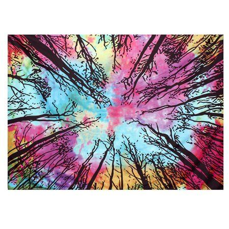 Indian Mandala Tree Of Life Wall Hanging Tie Dye Tapestry Throw Decor Tapestries