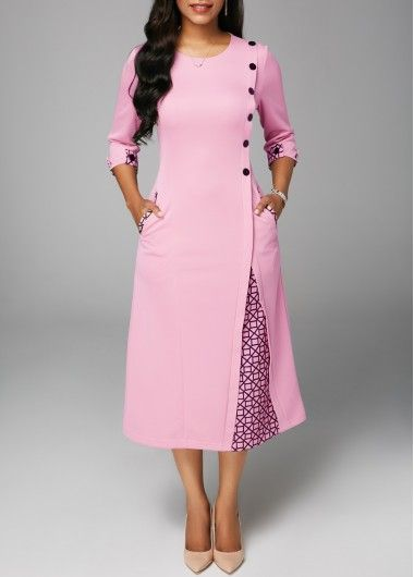 Button Embellished Round Neck Pocket Dress Women Clothes For Cheap, Collections, Styles Perfectly Fit You, Never Miss It!