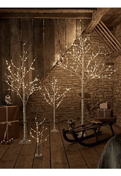Instead Of A Christmas Tree This Year We Adorn A Charming Tree Of Branches Birch Christmas Tree Light Up Tree Christmas Lights