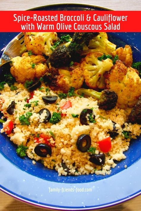 Crisp-tender spice-roasted cauliflower & broccoli are served with a subtly-flavoured, summery couscous salad. A relaxing vegan dinner! #vegan #cauliflower #broccoli #couscous #easyrecipe #dinner #delicious