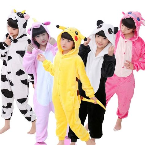 Kids Pajamas Onesies Animal Unicorn Stitch Pegasus Pikachu Pajamas For Boys  Girls Flannel Hooded Children Sleepwear Cosplay 102de1a15