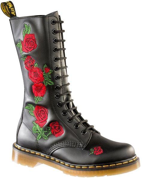 Dr. Martens Vonda Rose-Embroidered Combat Block Heel Boots