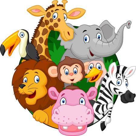 Animales De La Historieta Del Safari Animales Dibujos Animados Animales Safari Animales Salvajes Animados