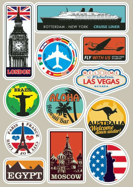 Famous Scenic Spot Vintage Sticker On Luggage Suitcase Trolley Travel Bag Car Sticker Guitar Scooter Laptop Suitcase Stickers Luggage Stickers Travel Stickers