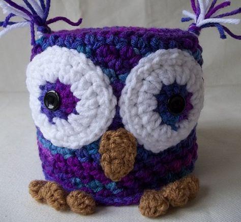 Crochet Owl Toilet Paper Cover, Bath Tissue Cover, Owl