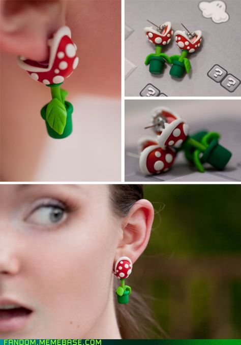 Newest Pics Polymer Clay Crafts thoughts Style geniale Idee für Ohrringe (Pflanze aus Super Mario)