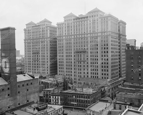 Shorpy Historical Photo Archive :: The Motor Girl: 1909 Hudson Terminal Buildings site of the future World Trade Center Old Pictures, Old Photos, Vintage Photos, Shorpy Historical Photos, Vintage New York, World Trade Center, Trade Centre, Lower Manhattan, Thing 1