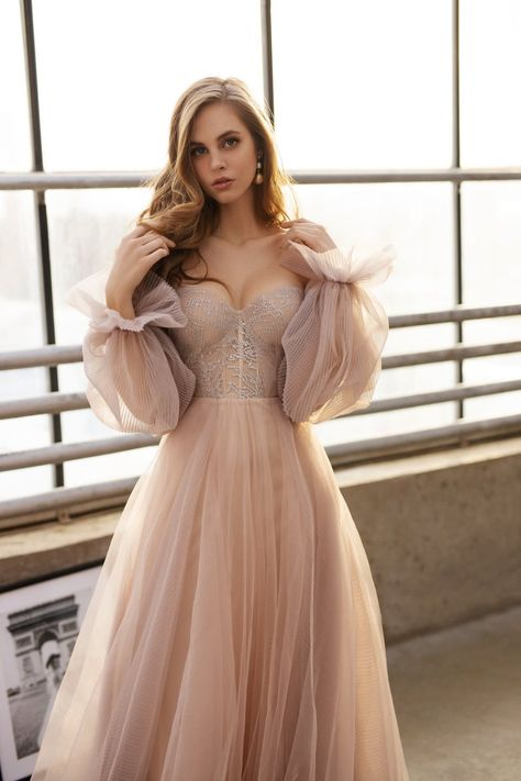 Tulle wedding dress, sweetheart bridal gown, bohemian nude dress, prom or ball romantic dress Beige Wedding Dress, Top Wedding Dresses, Colored Wedding Dresses, Tulle Wedding, Bridesmaid Dresses, Boho Wedding, Dream Wedding, Nude Dress, Dress Up