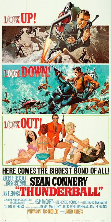 James Bond 007 (Sean Connery) - Thunderball (movie poster Art by Robert McGinnis and Frank McCarthy) James Bond Movie Posters, Old Movie Posters, Classic Movie Posters, James Bond Movies, Cinema Posters, Film Posters, Classic Movies, Film D'action, Bon Film