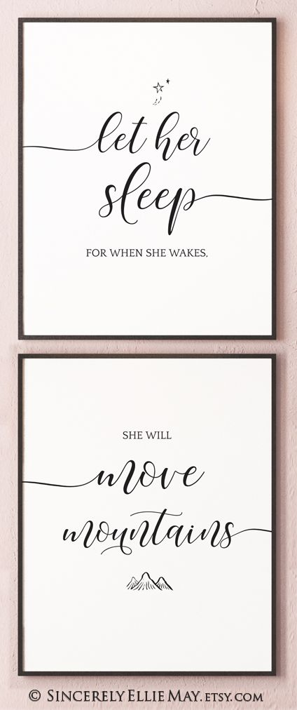 Let Her Sleep For When She Wakes Baby Girl Nursery Quote You