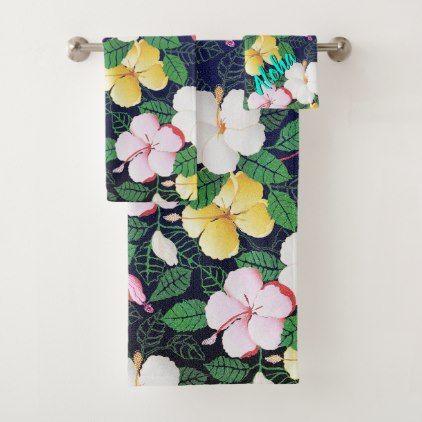Hibiscus Hawaiian Tropical Floral Bath Towel Set Zazzle Com