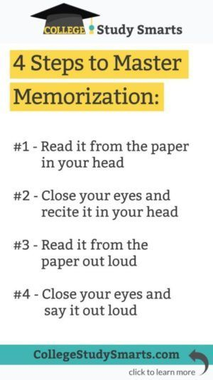 Four Steps to Master Memorization - College Study Smarts
