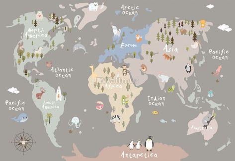 Kids Beige World Map with Animals Wallpaper Mural • Wallmur®