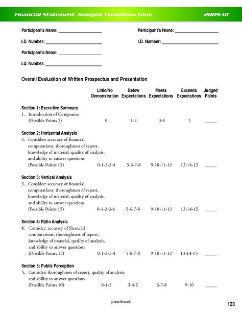 Financial Statement Analysis Evaluation Form Financial