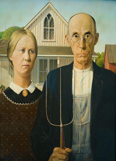 """""""Gotico Americano"""" (1930)- Grant Wood (Estados Unidos) (Realismo) (1892-1942)"""